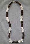 Wood Bead w/ Square-Cut Clam Shell Necklace (Black/Brown colors)