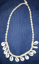HEMP BRAIDED W/COWRY SHELL DANGLES NECKLACE