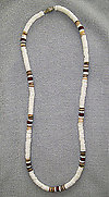 White Voluta Shell w/ Tan Bead Necklace 18